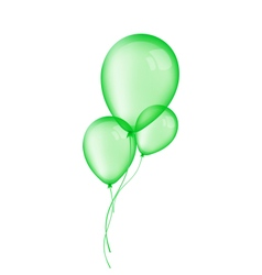 Three green balloons isolated on white background vector image