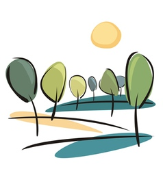 Trees on the hill at sunny day vector image