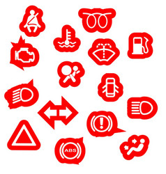 Vehicle dash warning symbols vector