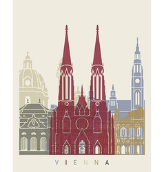 Vienna skyline poster vector image vector image