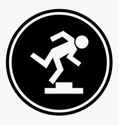 warning logo sign with stumbling person because of vector image vector image