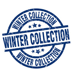 Winter collection blue round grunge stamp vector