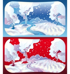winter landscapes vector image vector image