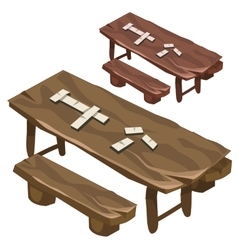 Wooden bench and a table with dominoes chips vector