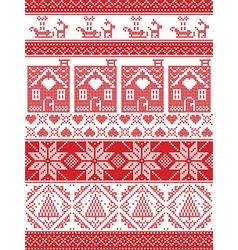 Tall xmas pattern with gingerbread house reindeer vector