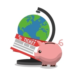 Planet and tickets for travel design vector