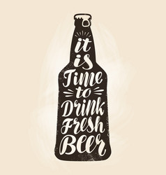 bottle of beer ale label lettering calligraphy vector image