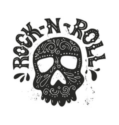 rock-n-roll hannddrawn poster vector image