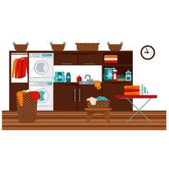 Laundry room and furniture vector