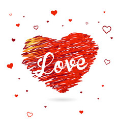 Valentine heart created from red lines and white vector