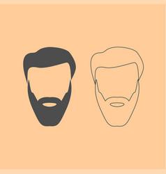 Head with beard and hair dark grey set icon vector