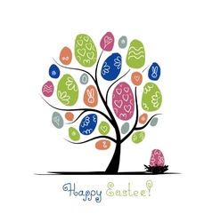 Art tree with easter eggs for your design vector image