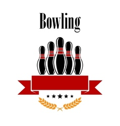 Bowling heraldic banner with ninepins vector