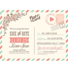 Vintage postcard background for wedding invitation vector