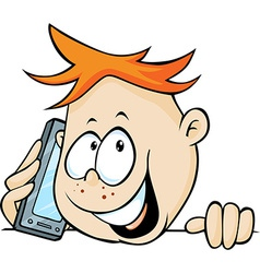 Boy calling with mobil phone peeking out - vector
