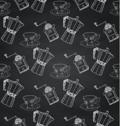 Vintage chalk drawing seamless pattern on board vector