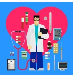 Doctor and medical tools vector image