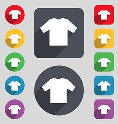 T-shirt icon sign a set of 12 colored buttons and vector
