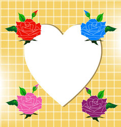 White heart with four roses vector