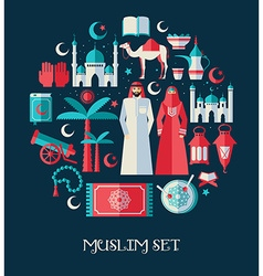 Muslim set of icons set of arabian vector