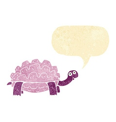 Cartoon tortoise with speech bubble vector