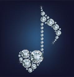 Shiny bright Diamond Music Note symbol with heart vector image