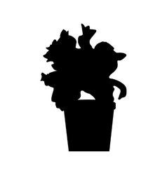 Potted plants silhouette vector