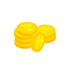 Lucky gold coin isometric 3d icon vector