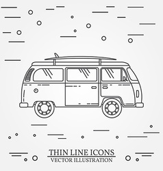 Travel bus family camper with surf board thin line vector