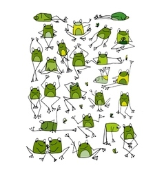 Funny frogs collection sketch for your design vector
