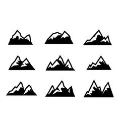 black mountain icons set vector image