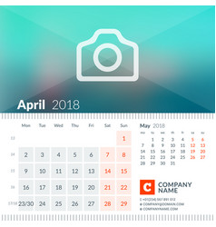 april 2018 calendar for 2018 year week starts on vector image vector image