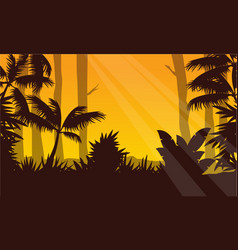 At sunrise on forest with tree silhouette vector
