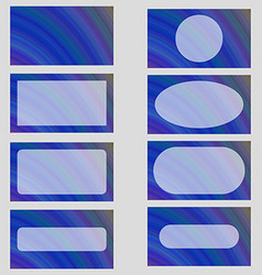 Blue abstract business card frame template set vector