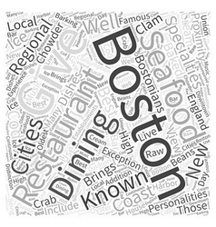 Boston dining word cloud concept vector