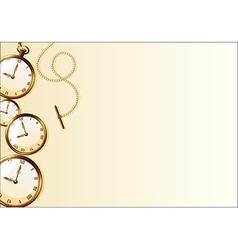 Brown wallpaper with retro watch design vector image vector image