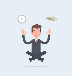 businessman found his balance with time and money vector image vector image