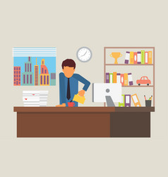 businessman on coffee break business office vector image vector image