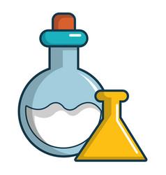Chemical bottles icon cartoon style vector