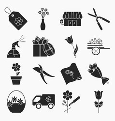 Collection of flower shop icons vector