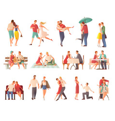 Dating couples big set vector