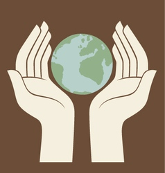 earth protected by hands logo vector image