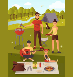 Family picnic in flat style vector