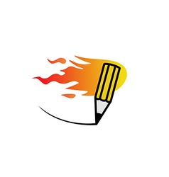 Fast fire pencil logo vector image