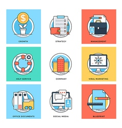 Flat Color Line Design Concepts Icons 10 vector image vector image