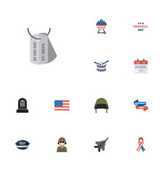 flat icons aircraft history hat and other vector image