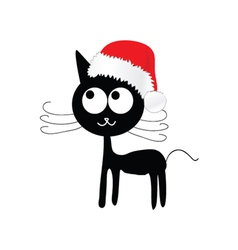 Funny and cute cat with red christmas hat vector