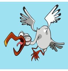 Funny cartoon stork flying bird with open beak vector