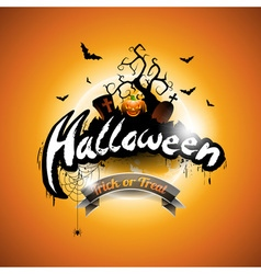 Halloween with pumpkin on orange background vector