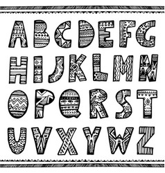 Hand drawn ornamental font vector